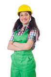 Female workman in green overalls isolated on white Stock Photography
