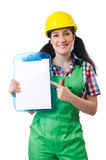 Female workman in green overalls isolated on white. The female workman in green overalls isolated on white Royalty Free Stock Photos