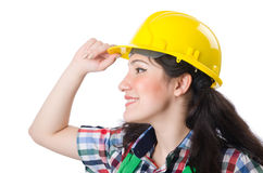 Female workman in green overalls isolated on white. The female workman in green overalls isolated on white Royalty Free Stock Photo