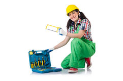Female workman in green overalls isolated on white. The female workman in green overalls isolated on white Stock Photography