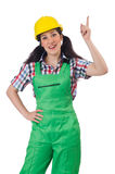 Female workman in green overalls isolated on white. The female workman in green overalls isolated on white Royalty Free Stock Images