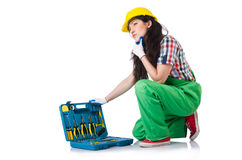 Female workman in green overalls isolated on white. The female workman in green overalls isolated on white Stock Images