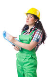 Female workman in green overalls isolated on white Royalty Free Stock Images