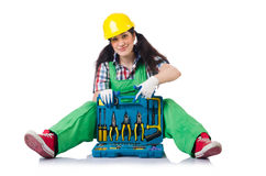 The female workman in green overalls isolated on Stock Images
