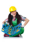 The female workman in green overalls isolated on Royalty Free Stock Images