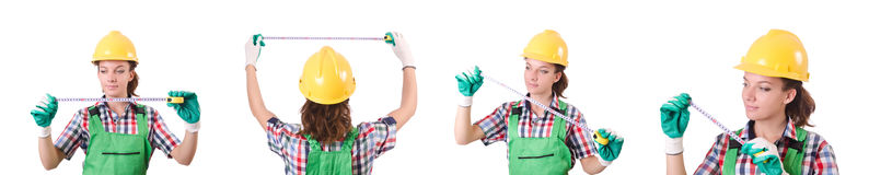 The female workman in green overalls isolated on white Stock Images