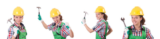 The female workman in green overalls isolated on white. Female workman in green overalls isolated on white Stock Images