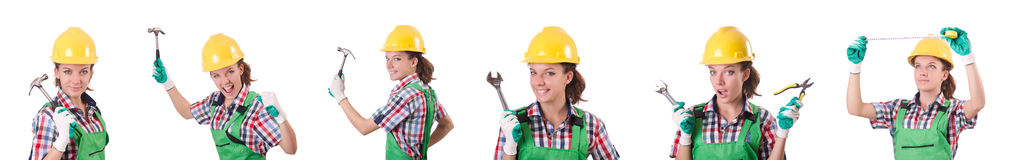 The female workman in green overalls isolated on white. Female workman in green overalls isolated on white Royalty Free Stock Photo