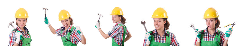 The female workman in green overalls isolated on white. Female workman in green overalls isolated on white Stock Photo