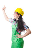 Female workman in green overalls  on white Stock Photos