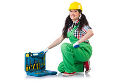 Female workman in green overalls  on white Royalty Free Stock Photos