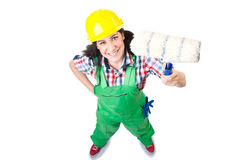Female workman in green overalls  on white Royalty Free Stock Images
