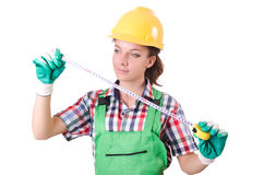 Female workman in green overalls on white Stock Image