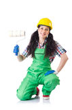 Female workman in green overalls on white Royalty Free Stock Photo