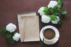 Female workplace blogger, reporter or artist for inspiration with flowers of viburnum and a sketchbook and pencil. Top view. Royalty Free Stock Photos