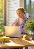 Female writer working. Female writer working on her new book stock photos