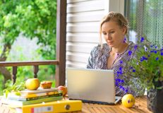 Female writer. Female writer working on her new book royalty free stock images