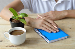 Female writing on notebook Royalty Free Stock Photography