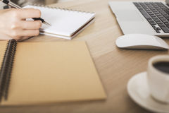 Female writing in notepad Stock Photos
