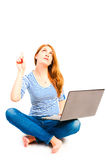 Female 25 years old  with a laptop Stock Photos