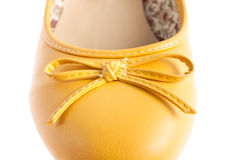 Female yellow shoes isolated Stock Image