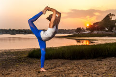 Female Yoga Dancer Pose Beach Stock Images