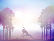 Female in yoga pose in summer palm tree landscape with retro eff Stock Photography