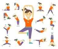 Female yoga poses. Girl and exercise, health lifestyle, balance position, body woman, vector illustration Royalty Free Stock Photo