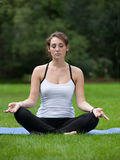 Female Yoga Practice  at Outdoor Park Stock Photo