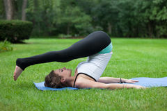 Female Yoga Practice  at Outdoor Park Stock Images