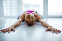 Female Yogi Meditating at Home royalty free stock image