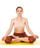 Female yogi practising yoga exercises Stock Photo