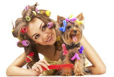Female with Yorkshire Terrier Royalty Free Stock Photos