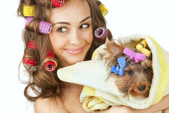 Female with Yorkshire Terrier Stock Image
