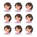 Female young character face set with different emotion vector illustration
