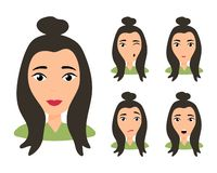 Female young character face vector illustration