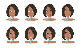 Female young character face  with different emotion. Brunette girl with happy, angry, unhappy, laughing, scared, wow, fun emotions royalty free illustration
