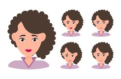 Female young character face with different emotion. Brunette girl with happy, angry, unhappy, laughing, scared, wow, fun emotions vector illustration
