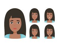 Brunette girl with happy, angry, unhappy, laughing, scared, wow, fun emotions. Vector Illustration royalty free illustration