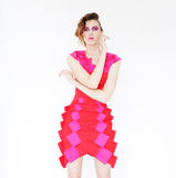 Female young model wearing pink dress  posing Stock Photo