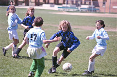 Female Youth Soccer Players. Livonia, Michigan, Livonia vs Grosse Pointe, U12 age group, 4/23/89 Stock Photo
