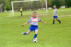 Female Youth Soccer Players. Livonia, MI, vs Troy, MI, U14 age group, Played in Livonia, MI, on 5/19/90rn Stock Photo