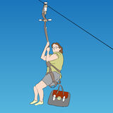 Female zip line rider Royalty Free Stock Photography