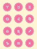 Female zodiac icons Royalty Free Stock Photos