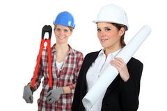 Females construction workers Stock Images