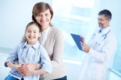 Females with daughter in hospital Stock Photo