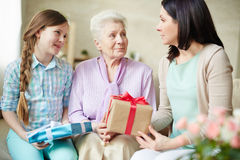 Females with gifts Royalty Free Stock Photography