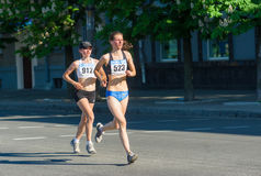 Females at the half marathon race Royalty Free Stock Images
