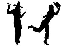 Females with hats silhouette vector Stock Photos