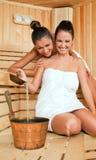 Females joy sauna Royalty Free Stock Images